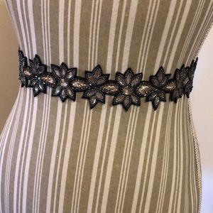 NWT Alter'd State beaded flower gem belt black S